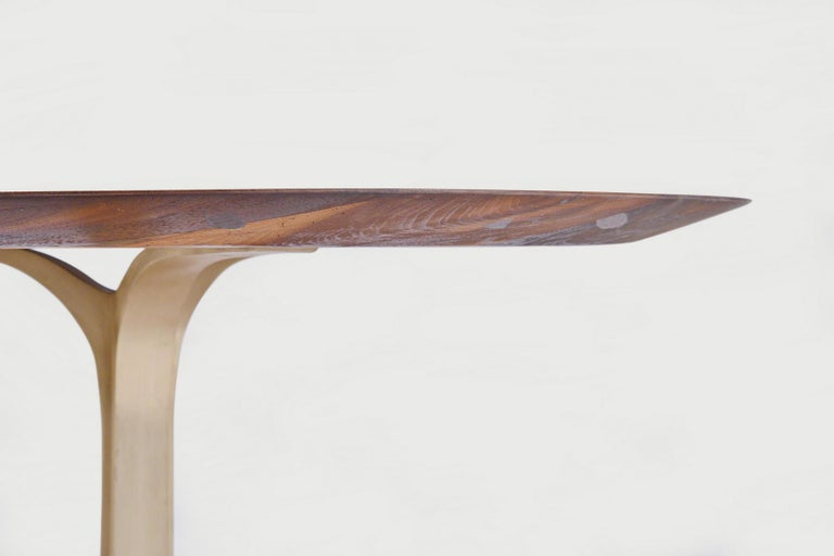 Bespoke Oval Table, Reclaimed Hardwood with Brass Base, by P. Tendercool For Sale 3