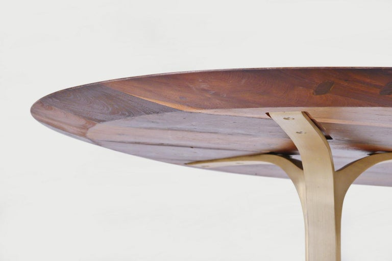 Bespoke Oval Table, Reclaimed Hardwood with Brass Base, by P. Tendercool For Sale 4