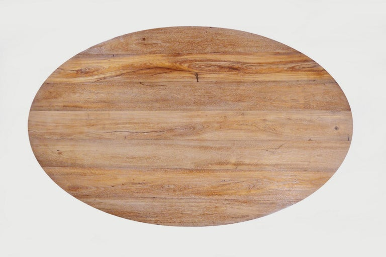 Bespoke Oval Table, Reclaimed Hardwood with Brass Base, by P. Tendercool For Sale 5