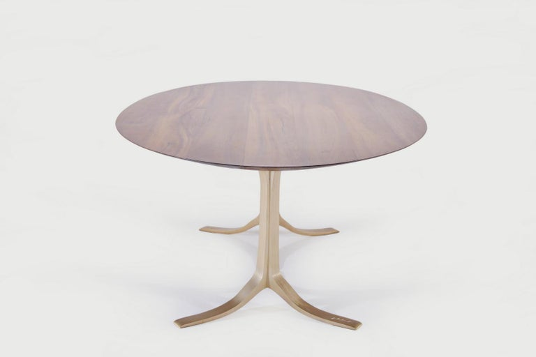 Minimalist Bespoke Oval Table, Reclaimed Hardwood with Brass Base, by P. Tendercool For Sale