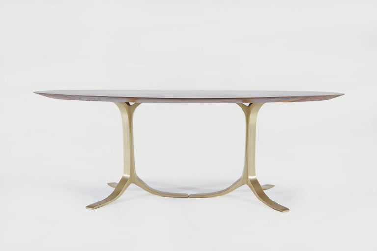 Bespoke Oval Table, Reclaimed Hardwood with Brass Base, by P. Tendercool In New Condition For Sale In Bangkok, TH