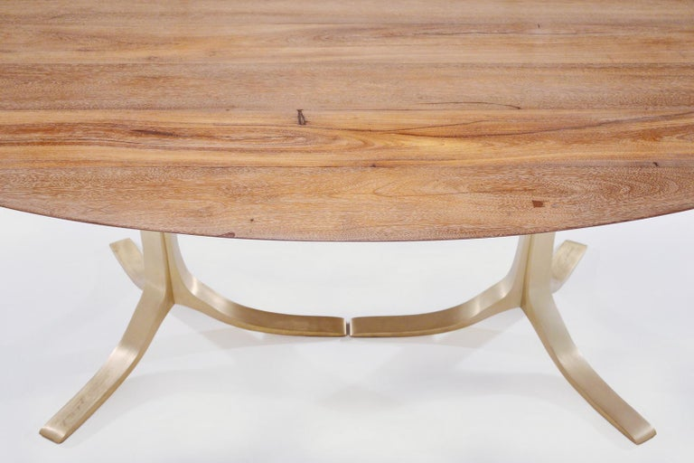 Contemporary Bespoke Oval Table, Reclaimed Hardwood with Brass Base, by P. Tendercool For Sale
