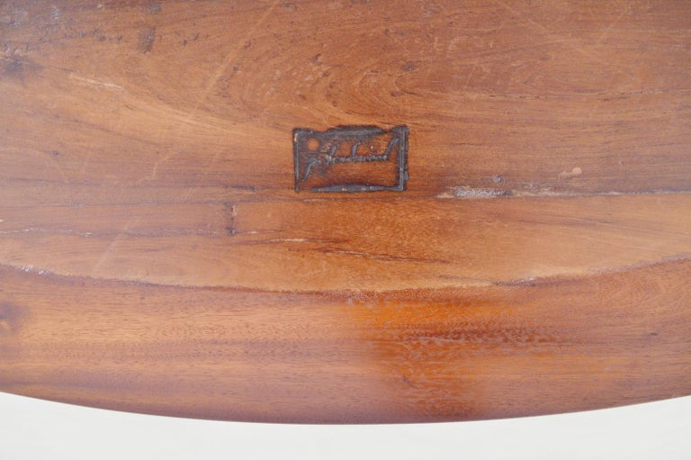 Bespoke Oval Table, Reclaimed Hardwood with Brass Base, by P. Tendercool For Sale 2