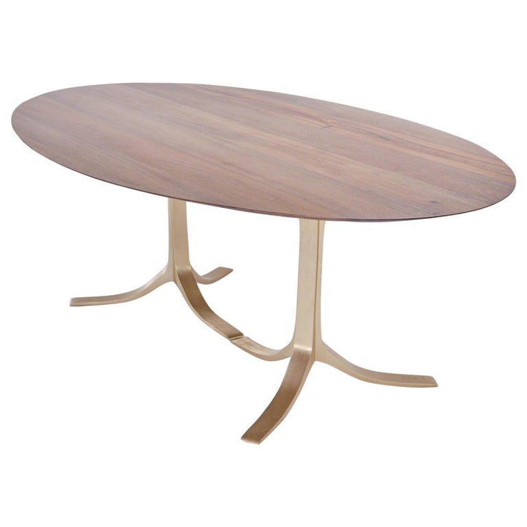 Bespoke Oval Table, Reclaimed Hardwood with Brass Base, by P. Tendercool For Sale