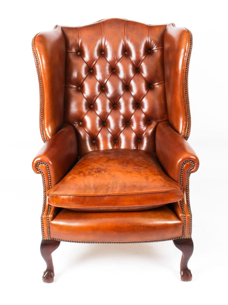 Bespoke Pair of Leather Chippendale Wingback Armchairs ...