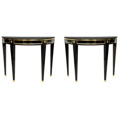 Bespoke Pair of Consoles in the Neoclassic Style with Brass Banding