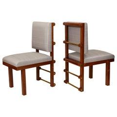 Bespoke Pair of Mahogany Library Chairs by Amir Khamneipur