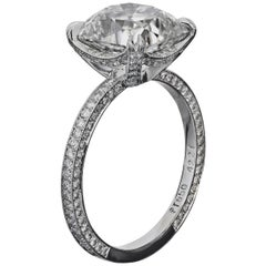 Bespoke Platinum Ring with GIA 2.01 Carat G/VS1 Antique Cushion Diamond
