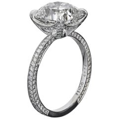 Bespoke Platinum Ring with GIA 2.04 Carat D/VS1 Antique Cushion Diamond
