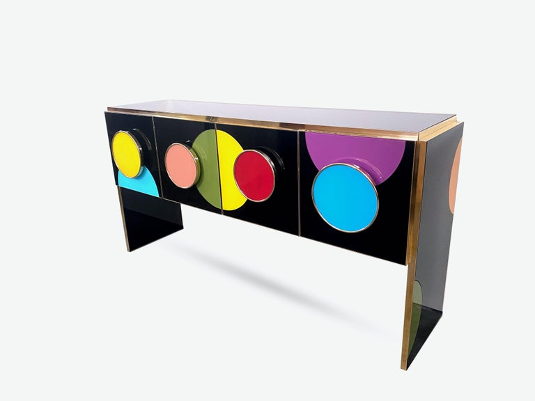 Post-Modern Bespoke Postmodern Style Colored Glass and Brass Console Sideboard For Sale