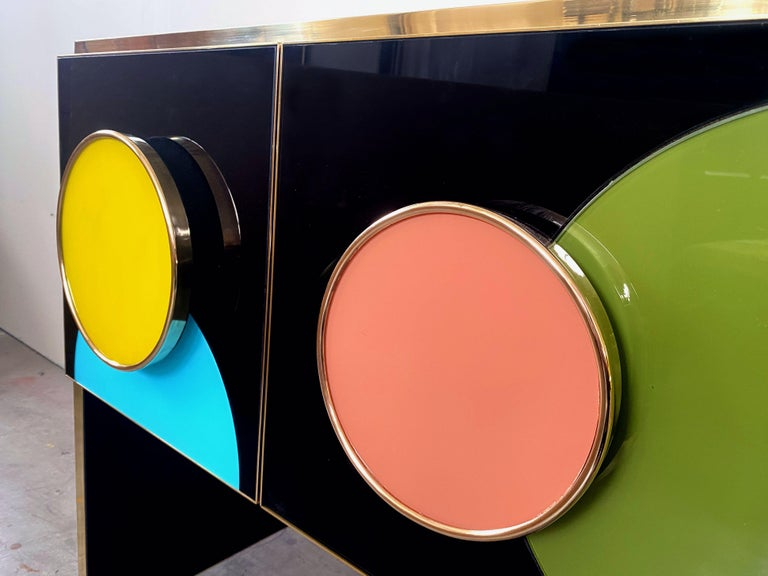 Contemporary Bespoke Postmodern Style Colored Glass and Brass Console Sideboard For Sale