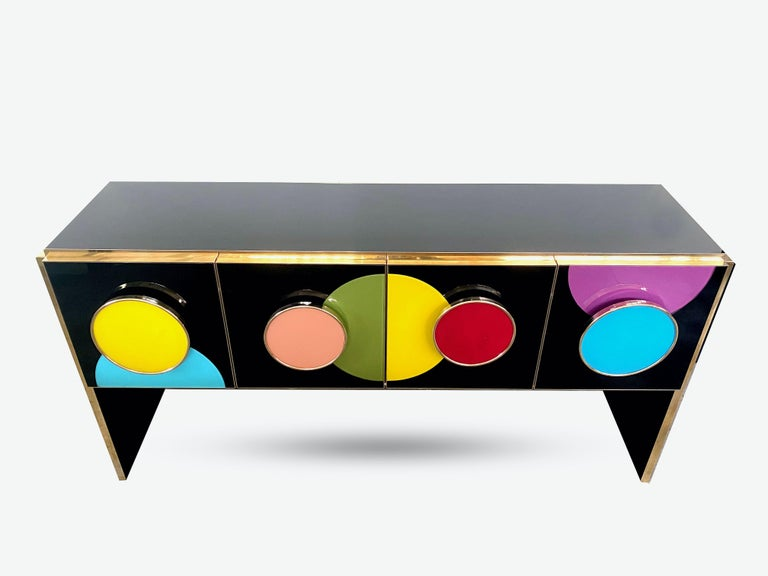 Bespoke Postmodern Style Colored Glass and Brass Console Sideboard For Sale 1