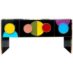 Bespoke Postmodern Style Colored Glass and Brass Console Sideboard