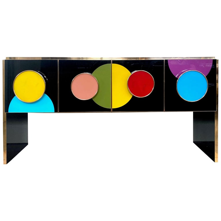 Bespoke Postmodern Style Colored Glass and Brass Console Sideboard For Sale
