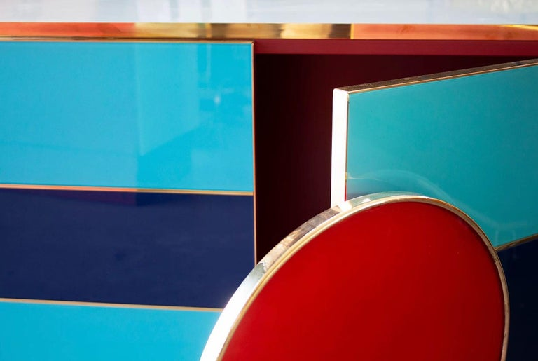 Bespoke Postmodern Style Colored Glass and Brass Cabinet In New Condition For Sale In London, London
