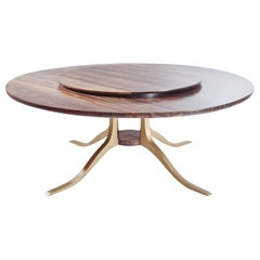 Bespoke Round Table, Reclaimed Burmese Black wood, Brass Base, by P. Tendercool