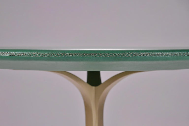 Minimalist Bespoke Round Table, Wood Covered Leather, Brass Base by P. Tendercool  For Sale