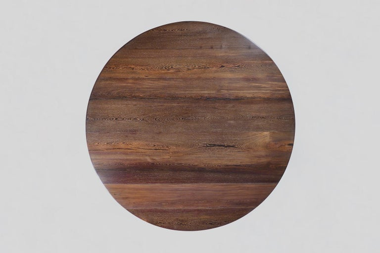 Minimalist Bespoke Round Table, Reclaimed Hardwood, Brass Base by P. Tendercool For Sale