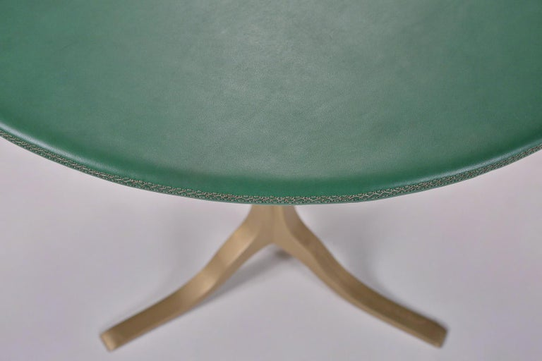 Thai Bespoke Round Table, Wood Covered Leather, Brass Base by P. Tendercool  For Sale