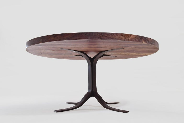 Thai Bespoke Round Table, Reclaimed Hardwood, Brass Base by P. Tendercool For Sale
