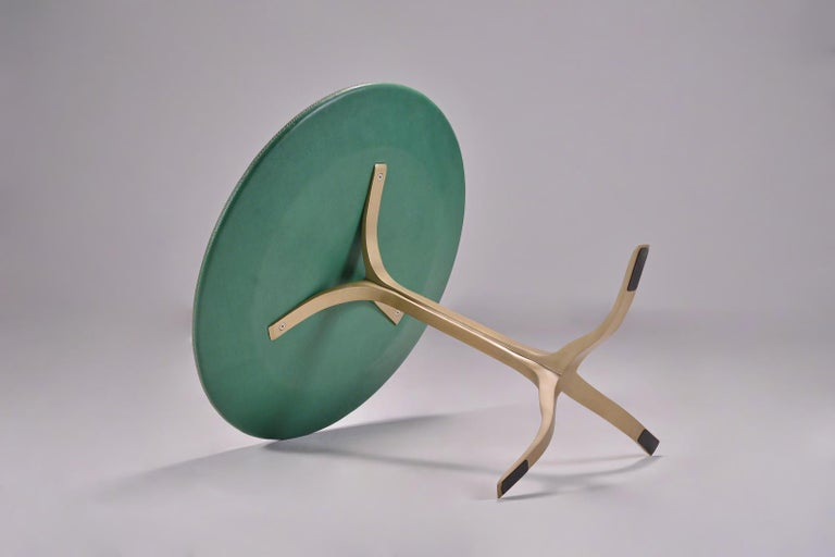 Bespoke Round Table, Wood Covered Leather, Brass Base by P. Tendercool  In New Condition For Sale In Bangkok, TH