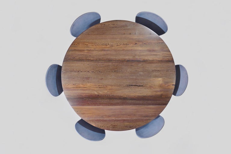 Bespoke Round Table, Reclaimed Hardwood, Brass Base by P. Tendercool For Sale 1