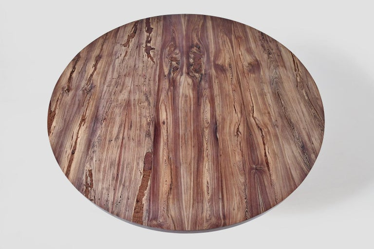 Reclaimed Wood Bespoke Round Table, Reclaimed Hardwood, Brass Base by P. Tendercool For Sale