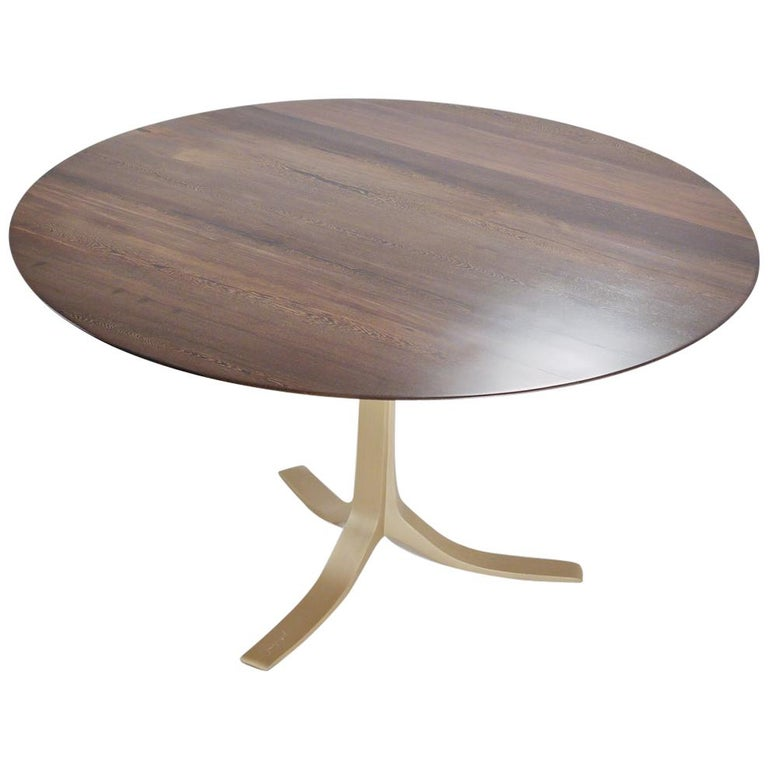 Bespoke Round Table, Reclaimed Hardwood, Brass Base by P. Tendercool For Sale