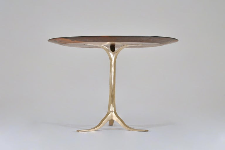 Thai Bespoke Round Table, Reclaimed Hardwood, Bronze Base by P. Tendercool in Stock For Sale