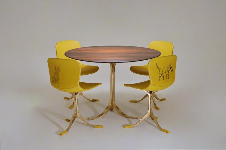 Contemporary Bespoke Round Table, Reclaimed Hardwood, Bronze Base by P. Tendercool in Stock For Sale