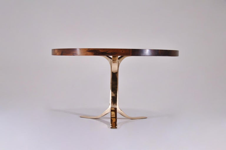 Minimalist Bespoke Round Table with Reclaimed Hardwood and Bronze Base by P. Tendercool  For Sale