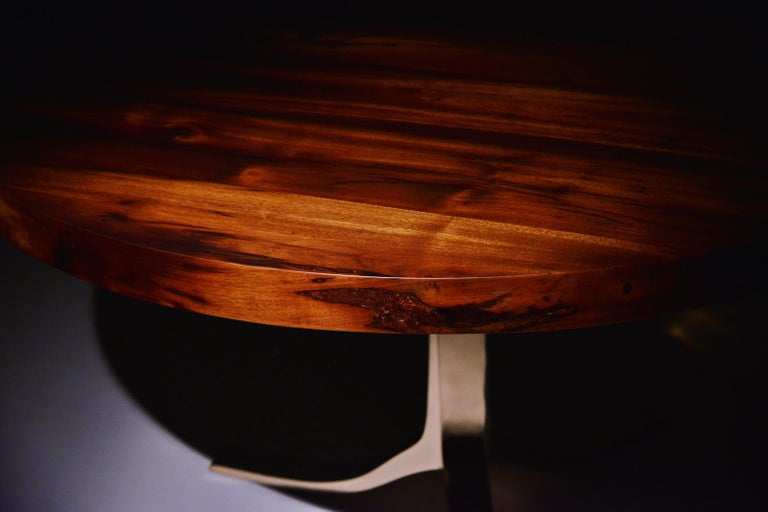Contemporary Bespoke Round Table with Reclaimed Hardwood and Bronze Base by P. Tendercool  For Sale