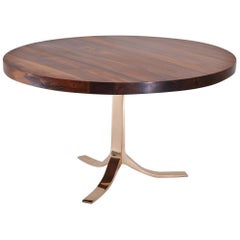 Bespoke Round Table with Reclaimed Hardwood and Bronze Base by P. Tendercool