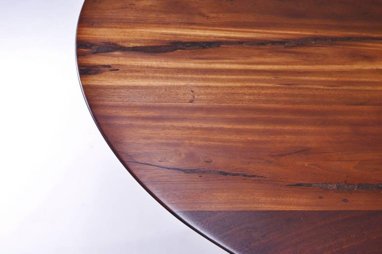 Bespoke Round Table, Reclaimed Hardwood, Brass Base by P. Tendercool  For Sale 3