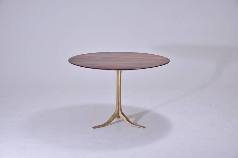 Minimalist Bespoke Round Table, Reclaimed Hardwood, Brass Base by P. Tendercool  For Sale