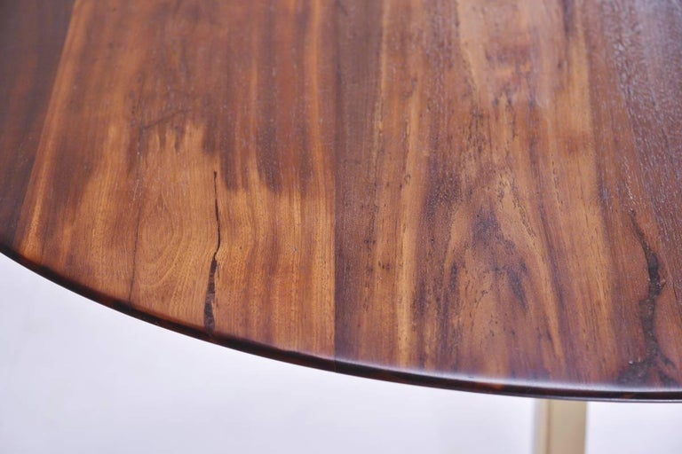 Bespoke Round Table, Reclaimed Hardwood, Brass Base by P. Tendercool  In New Condition For Sale In Bangkok, TH