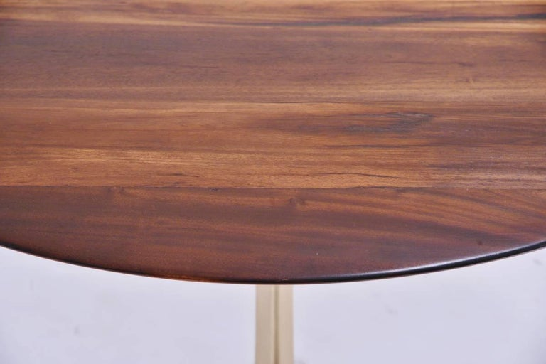Contemporary Bespoke Round Table, Reclaimed Hardwood, Brass Base by P. Tendercool  For Sale