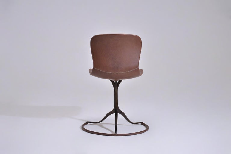 Mid-Century Modern Bespoke Sand Cast Brass Chair in Truffe Leather, by P. Tendercool For Sale