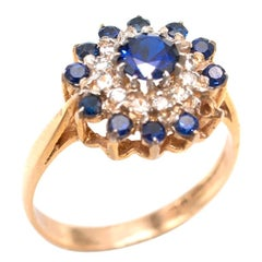 Bespoke Sapphire and Diamond Cluster Gold Ring Ring - Size 7