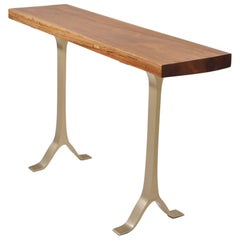 Bespoke Side Table, Reclaimed Hardwood, Sand Cast Brass Base by P. Tendercool