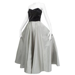 Bespoke Silver and Gray Duchess Satin Strapless Ball Gown, Paris - Medium, 1950s