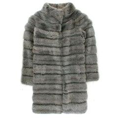 Bespoke Silver Mink Fur Coat US 06