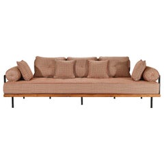 Bespoke Sofa with Brass and Reclaimed Hardwood, by P. Tendercool
