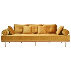 Bespoke Sofa with Brass and Reclaimed Hardwood Frame by P. Tendercool in Stock