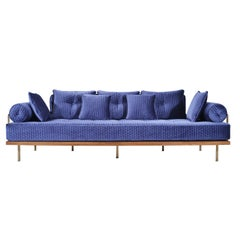 Bespoke Sofa with Brass and Reclaimed Hardwood Frame by P. Tendercool (in Stock)
