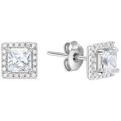 Bespoke Square Cut Diamond Halo White Gold or Platinum Stud Earrings