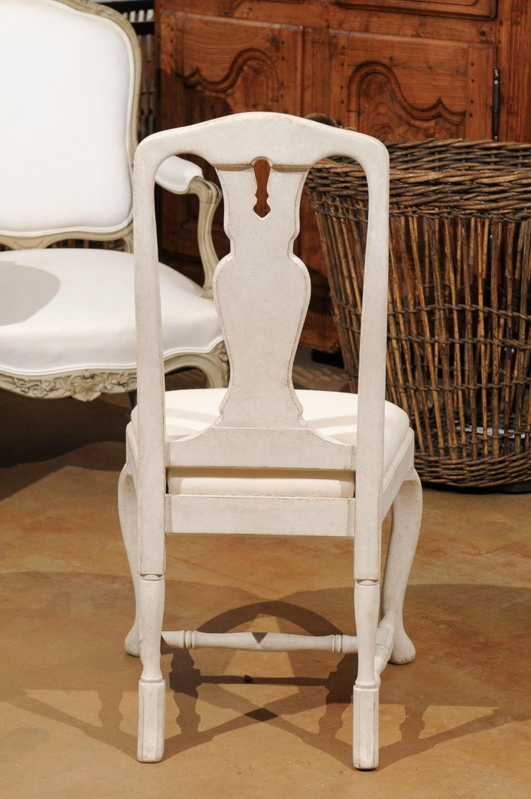 Bespoke Swedish Baroque Style Painted Wood Upholstered Chair with Carved Splat For Sale 6