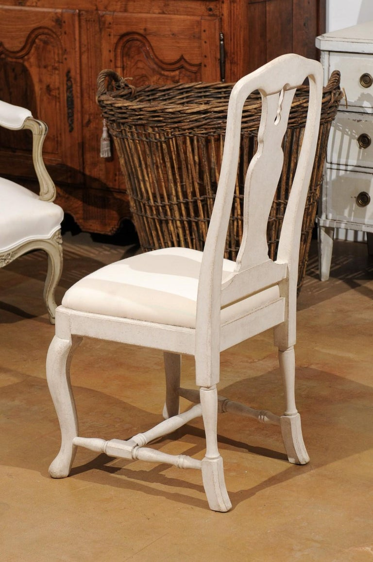 Bespoke Swedish Baroque Style Painted Wood Upholstered Chair with Carved Splat For Sale 7