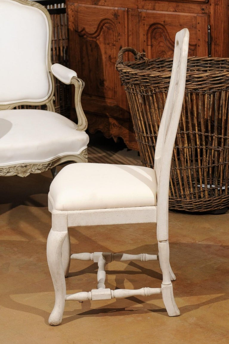 Bespoke Swedish Baroque Style Painted Wood Upholstered Chair with Carved Splat For Sale 8