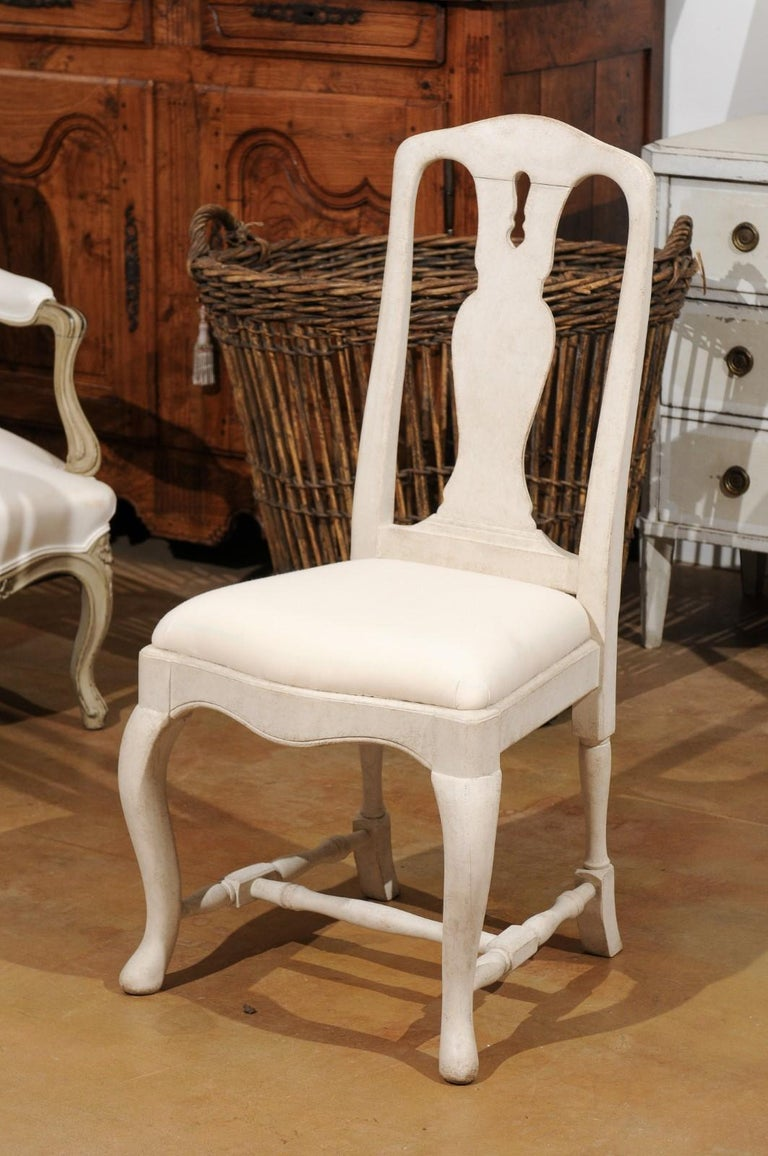 Bespoke Swedish Baroque Style Painted Wood Upholstered Chair with Carved Splat For Sale 9
